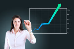 Business woman writing over achievement graph. Stock Photography