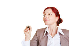 Business woman writing with pen Stock Images
