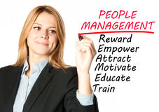 Business woman writing people management Royalty Free Stock Image