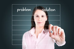 Business woman writing problem and solution list. Stock Photography