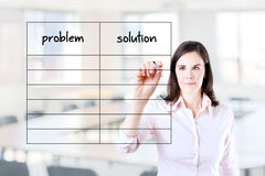 Business woman writing problem and solution list Stock Images