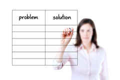 Business woman writing problem and solution list. Young business woman writing problem and solution list in blank, white background Royalty Free Stock Photo