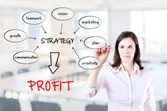 Business woman writing a schema. Business woman writing a schema at the whiteboard with ideas for a good strategy to make profit. Office background Royalty Free Stock Photography