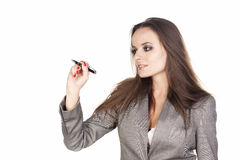 Business woman writing. Business woman writing something with a marker on white background stock photography