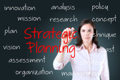 Business woman writing strategic planning concept. Young business woman writing strategic planning concept Royalty Free Stock Photos