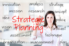Business woman writing strategic planning concept. Royalty Free Stock Photo