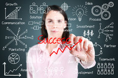 Business woman writing success by many process. Royalty Free Stock Images