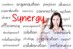 Business woman writing synergy concept. Isolated o. N white Royalty Free Stock Images