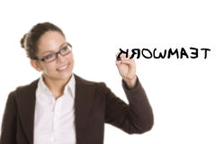 Business woman writing on transparent board Stock Image