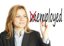 Business woman writing unemployed employed Stock Image