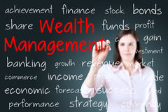 Business woman writing wealth management concept. Blue background. Stock Image