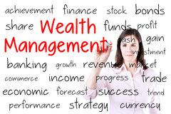 Business woman writing wealth management concept. Isolated on white. Stock Images