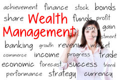 Business woman writing wealth management concept.  Royalty Free Stock Photography