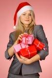 Business-woman y regalos Fotografía de archivo libre de regalías