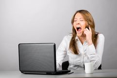 Business woman is yawning Stock Photo
