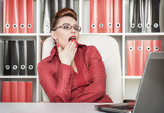 Business woman yawning Royalty Free Stock Photo