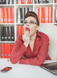 Business woman yawning Stock Photos