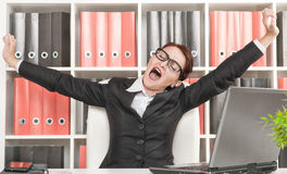 Business woman yawning Royalty Free Stock Images