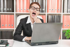 Business woman yawning Stock Images