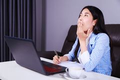 Business woman yawning. sleepy, tired, exhausted from overworked Royalty Free Stock Photo