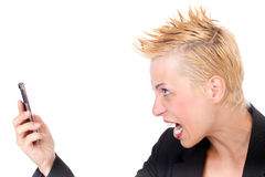 Business woman yelling Stock Photography