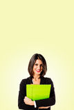 business woman on yellow background Stock Image