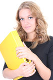 Business woman with yellow folder Royalty Free Stock Photography
