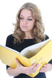Business woman with yellow folder Stock Photos