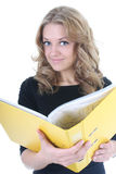 Business woman with yellow folder Stock Images