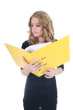 Business woman with yellow folder Royalty Free Stock Image