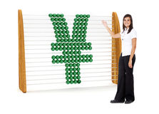 Business woman with a Yen symbol Stock Photo
