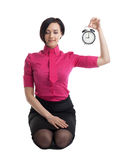 Business woman in yoga pose save the time Royalty Free Stock Photography