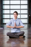 Business woman yoga at work Stock Images