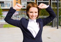 Business woman. A young business woman celebrating an acheivement Stock Photo