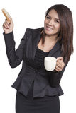 Business woman young pretty drinking coffee and breakfast Friend Stock Photos