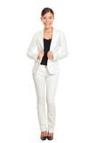 Business woman young professional standing in suit. Business woman young professional standing in white suit smiling confident, happy and proud isolated on white Royalty Free Stock Photo