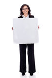 Business womanholding a white blank board Stock Image