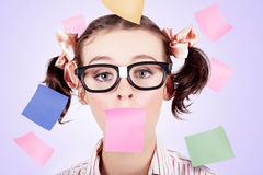 Business Womans Face Covered In Paper Reminders Stock Images