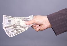 Business womans hand with dollars Stock Photo