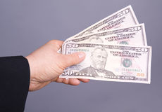 Business womans hand with dollars Stock Photography