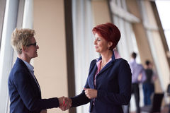 Business womans make deal and handshake. Two corporate business women at modern bright office interior make deal and handshake Stock Photo