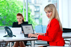 Business womanworking on laptop with colleague in background Stock Photos
