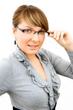 Business women. Young beautiful business woman with glasses Royalty Free Stock Photos
