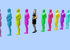 Business women. A queue of business women/employees looking completely the same, like made of plastik in different diagram colors, one of them is naturally Stock Photos