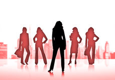 Business women. Silhouettes of five business women Royalty Free Stock Image