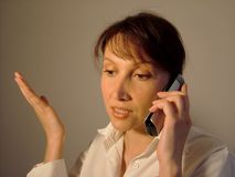 Business and woman. Female businesswoman with phone Royalty Free Stock Photo