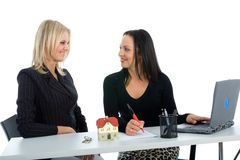 Business women advertises real estat Royalty Free Stock Image