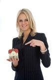 Business women advertises real estat Royalty Free Stock Photos
