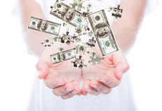 Business women with American dollar against white backgroun Royalty Free Stock Photography