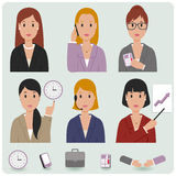 Business women avatar icons Stock Photos